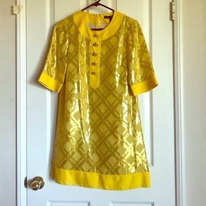 70's style yellow and gold Marc Jacobs dress